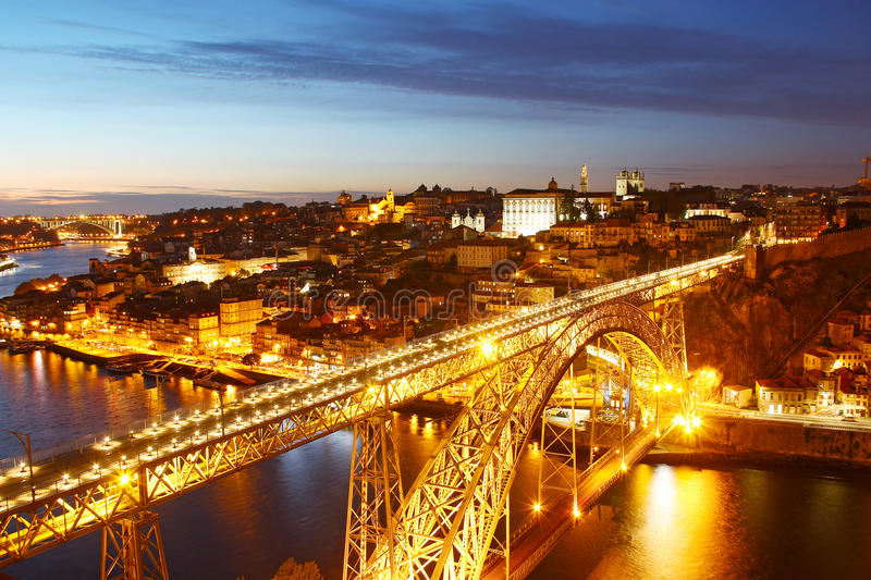 Dom Luis Bridge and Porto old town, Portugal. Dom Luis Bridge Ponte Luis I and bird eye view of Porto in the evening, Portugal stock image