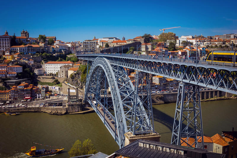 Download Dom Luis I Bridge And View Of Porto Old Town Stock Image - Image: 83723665