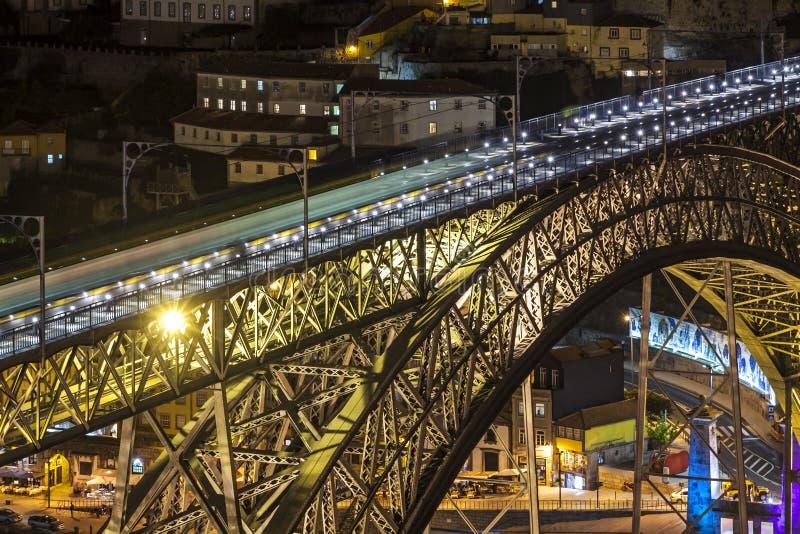 Dom Luis I bro ?ver den Douro floden i Porto, Portugal royaltyfri foto