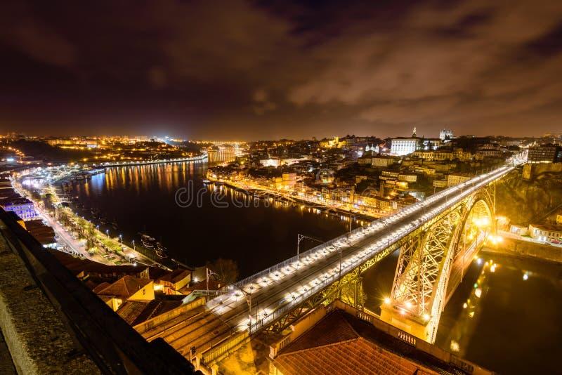 Dom Luis I Brug over Douro-rivier stock foto's