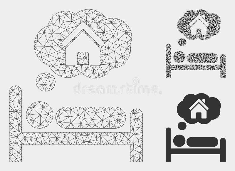 Dom Marzy Wektorową siatki sieci trójboka i modela mozaiki ikonę ilustracja wektor