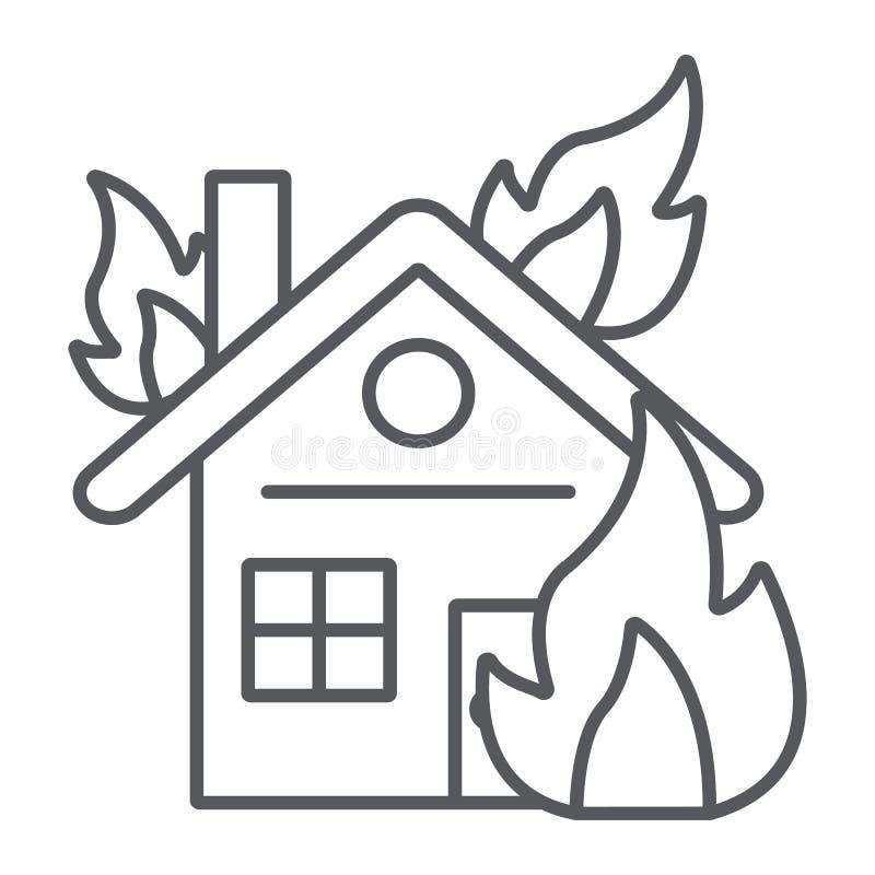 Dom na ogień cienkiej kreskowej ikonie, oparzenie i wypadku pali do domu, szyldowe, wektorowe, grafika, liniowy wzór na bielu ilustracja wektor