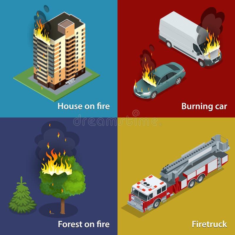 Dom na ogieniu, Płonący samochód, las na ogieniu, Firetruck Pożarniczego stłumienia i ofiary pomoc Isometric wektor ilustracja wektor