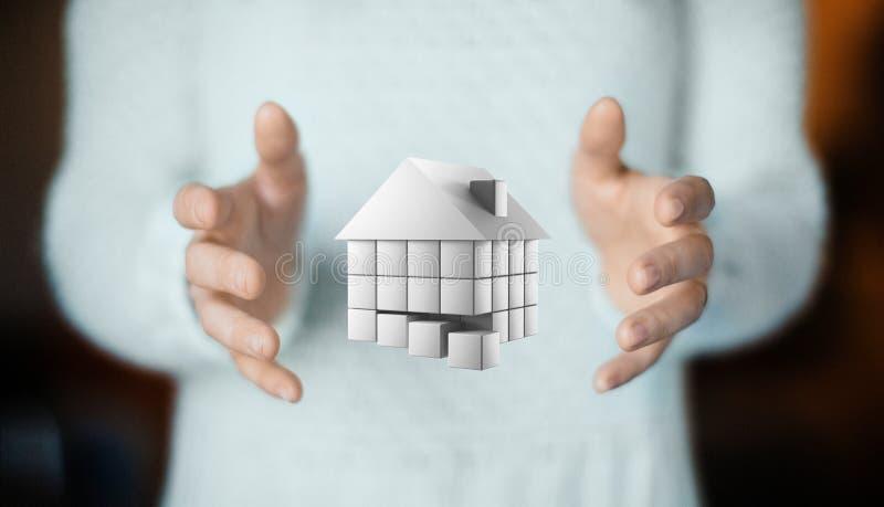 Dom na ręce, kupuje nowego dom, czynsz lub pożyczkę, obrazy royalty free
