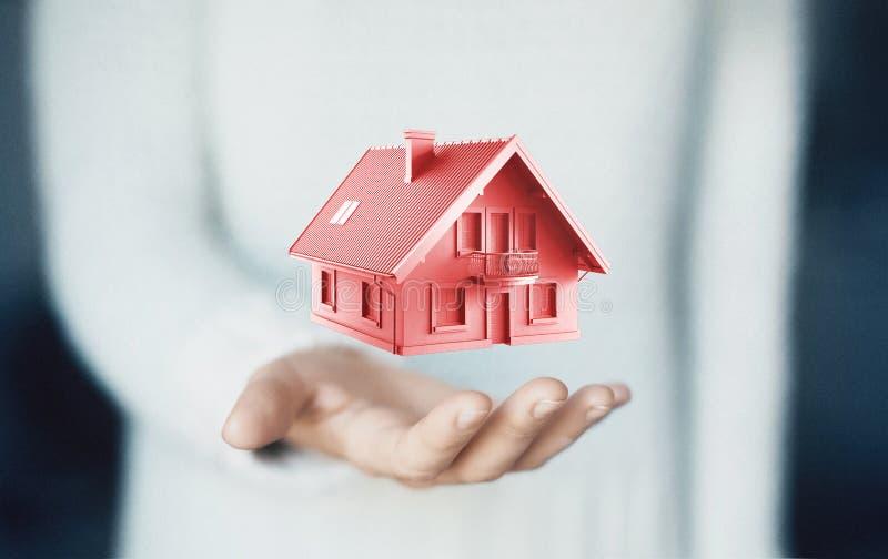 Dom na ręce, kupuje nowego dom, czynsz lub pożyczkę, zdjęcie royalty free