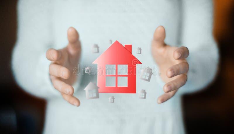 Dom na ręce, kupuje nowego dom, czynsz lub pożyczkę, fotografia royalty free