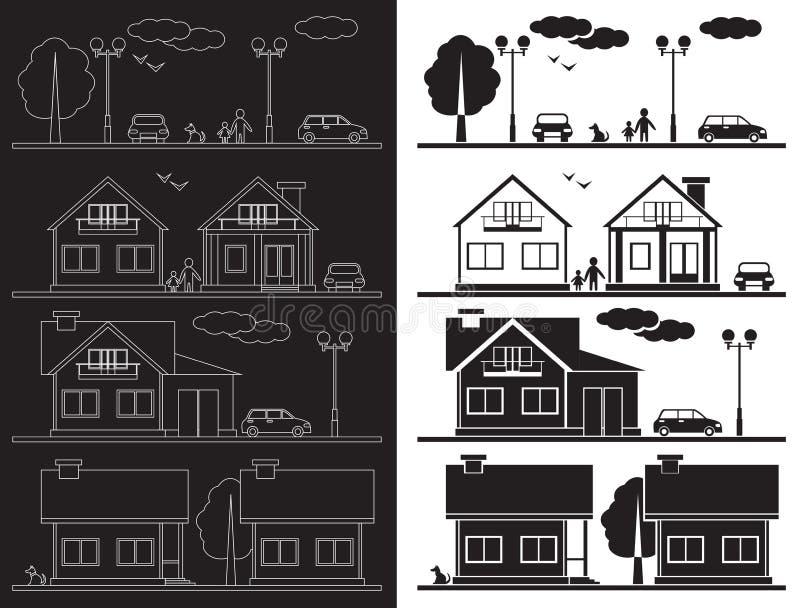 Dom na ulicznej ikonie ilustracja wektor