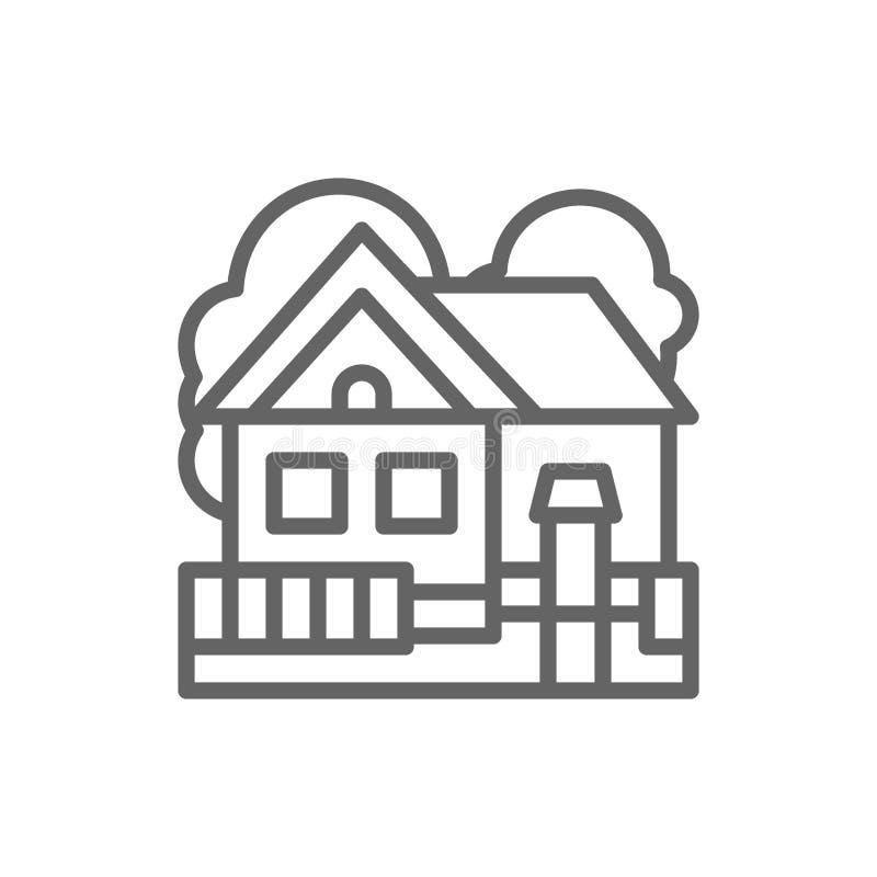 Dom na wsi, cha?upa krajobrazu linii ikona ilustracja wektor