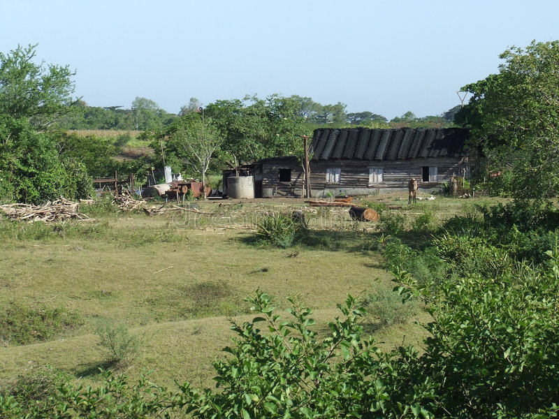 dom na wsi drewniany dachowy gumowy zdjęcie stock
