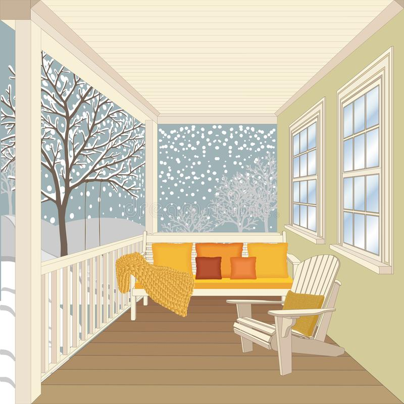 Dom na wsi ganeczek z drewnianą ławką i krzesłem ilustracja wektor
