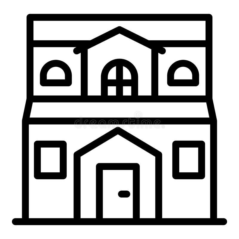 Dom Na Wsi ikona, konturu styl ilustracji