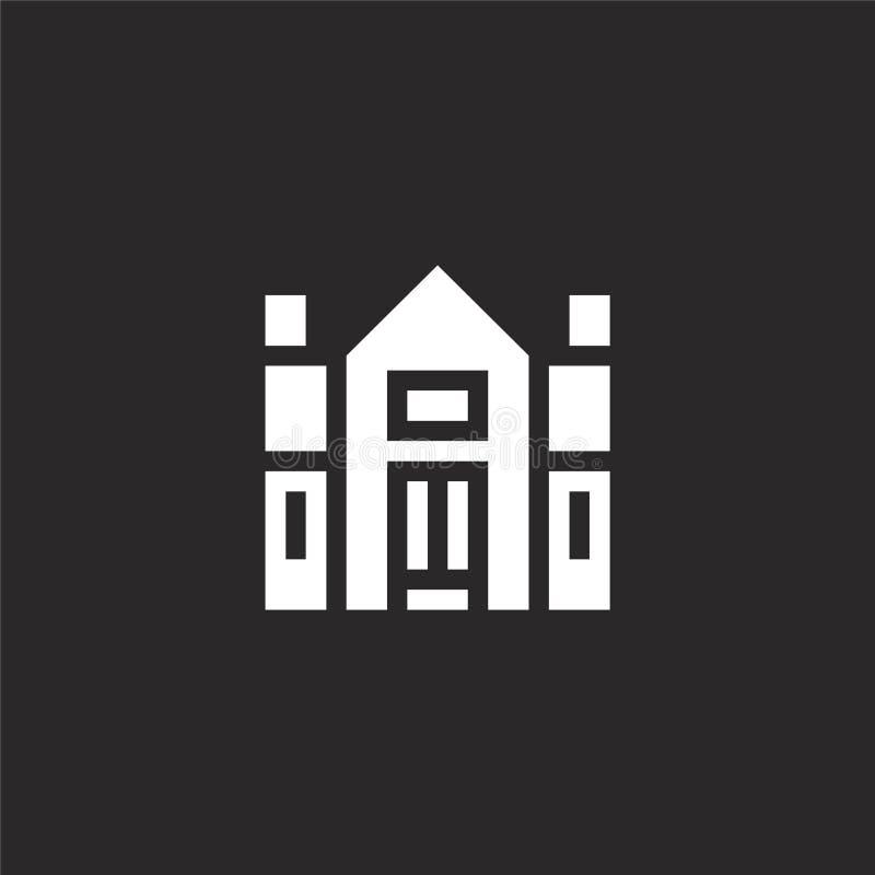 Dom na wsi ikona Wypełniająca dom na wsi ikona dla strona internetowa projekta i wiszącej ozdoby, app rozwój dom na wsi ikona od  royalty ilustracja