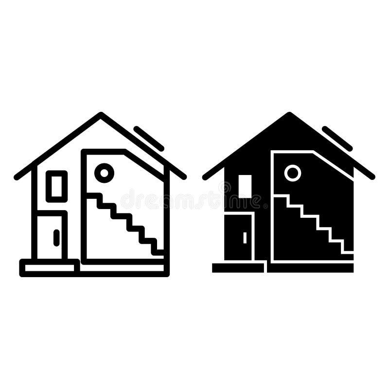 Dom na wsi linia i glif ikona Dwuokapowego dachu dom z dużą nadokienną wektorową ilustracją odizolowywającą na bielu nowożytny ilustracji