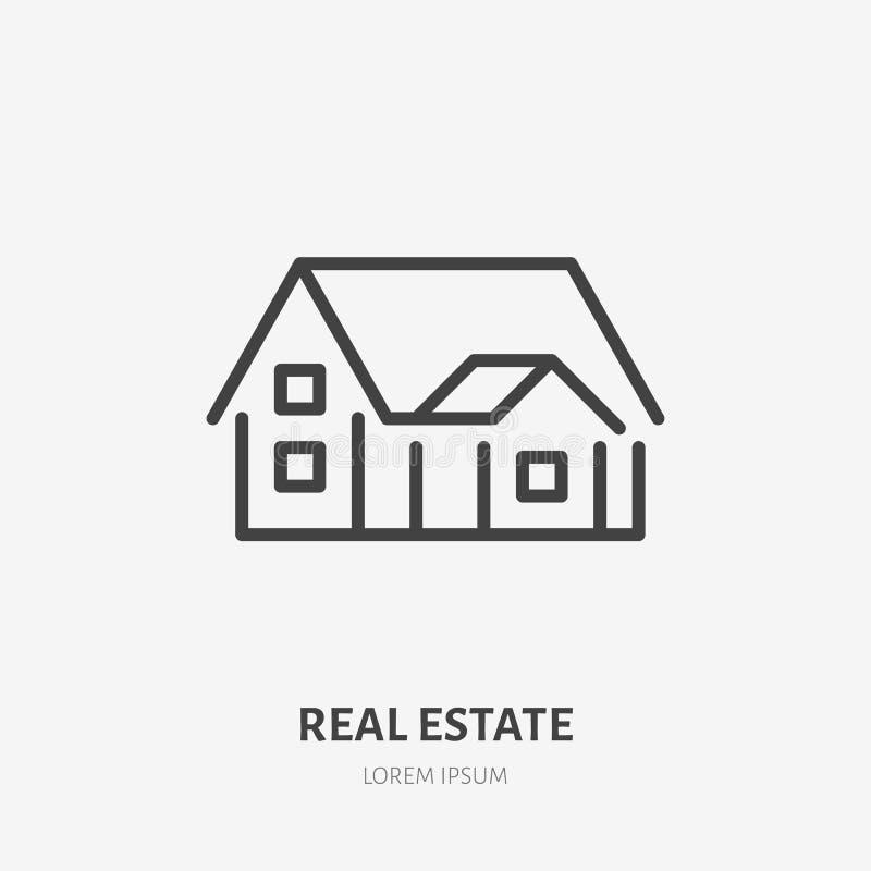 Dom na wsi mieszkania linii ikona znak grafiki komputerowy projekta nieruchomości reala znak Cienki liniowy logo dla domowych rem royalty ilustracja