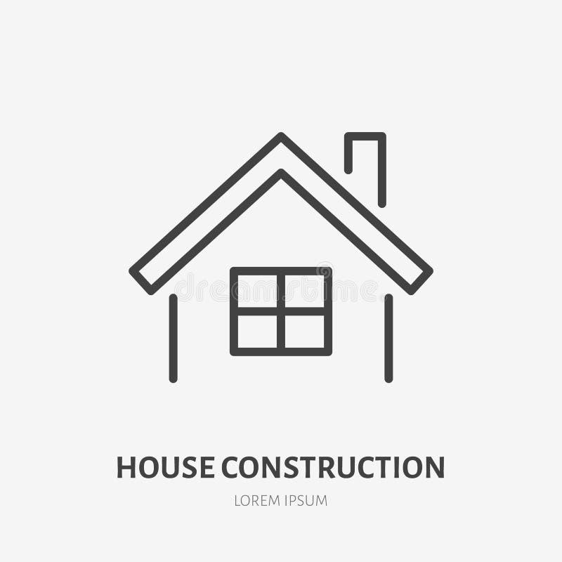 Dom na wsi mieszkania linii ikona znak grafiki komputerowy projekta nieruchomości reala znak Cienki liniowy logo dla dom naprawy, royalty ilustracja