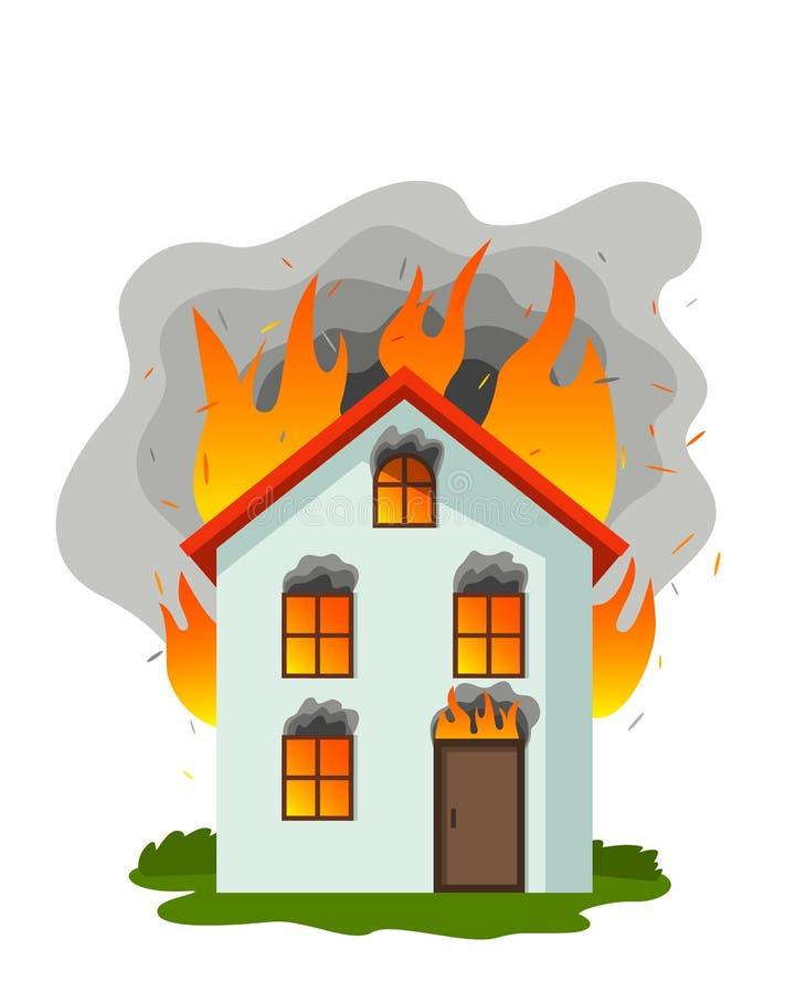 Dom na wsi płonie w ogieniu pali w dymu P?aska wektorowa ilustracja odizolowywaj?ca royalty ilustracja