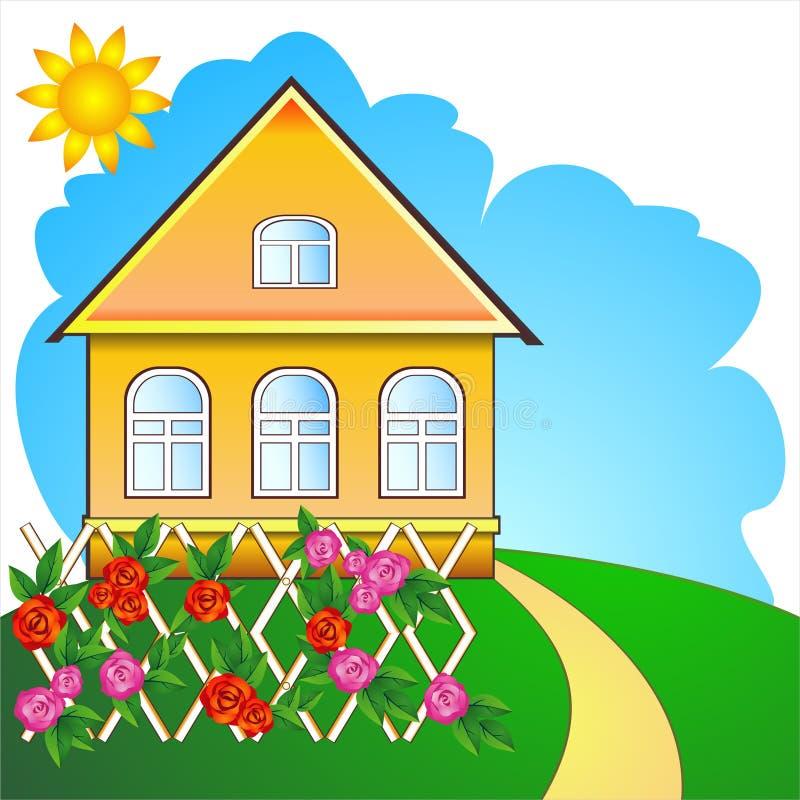 dom na wsi róże royalty ilustracja