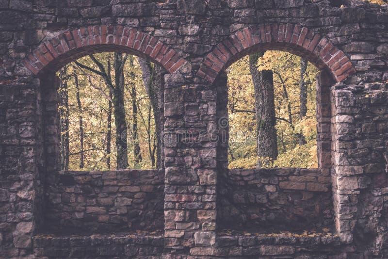 dom na wsi ruiny - rocznika retro skutek obrazy royalty free