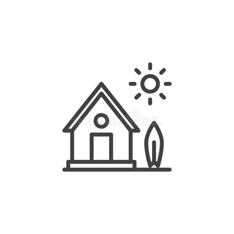 Dom na wsi z drzewa i słońca kreskową ikoną ilustracji