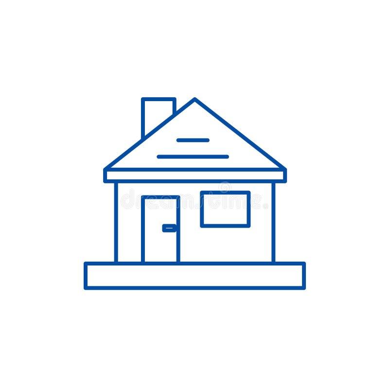 Dom, dom naprawy linii ikony pojęcie Dom, domu remontowy płaski wektorowy symbol, znak, kontur ilustracja royalty ilustracja
