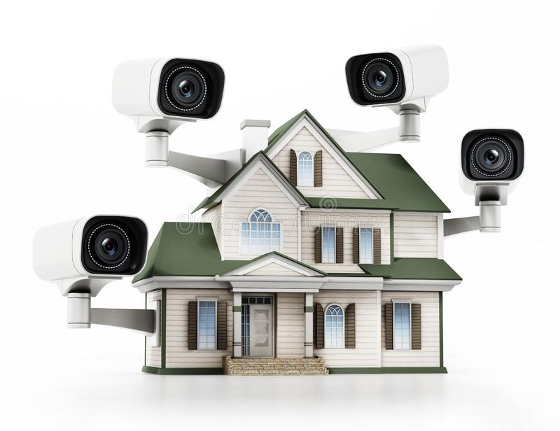 Dom ochraniający z CCTV inwigilacji kamerami ilustracja 3 d royalty ilustracja