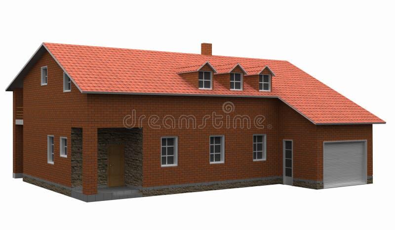 dom odizolowane white kafelkowy czerwony dach fotografia stock