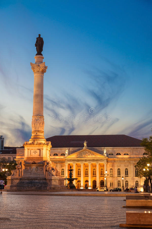 Download Dom Pedro IV Square In Lisbon At Dusk Stock Photo - Image: 30932570
