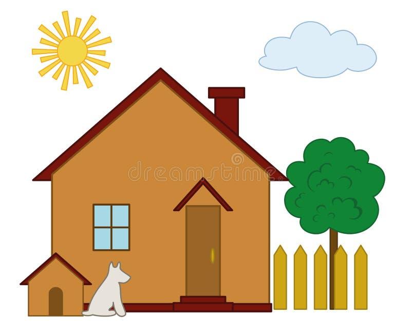 Dom, pies i drzewo, royalty ilustracja