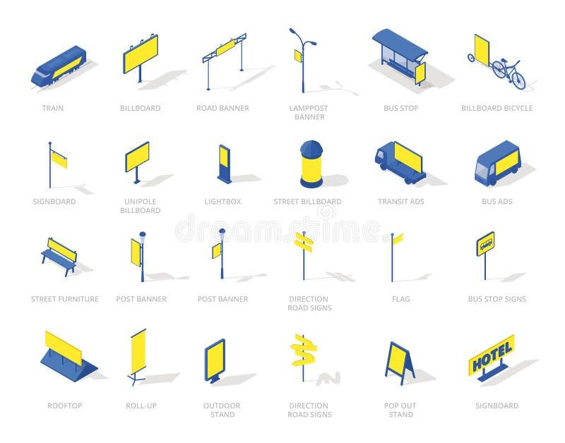 Dom plenerowej reklamy ikon isometric środki ustawiający Błękitny i żółty colour ilustracji