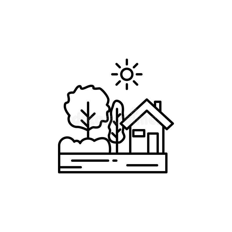Dom, pogodna drzewna kontur ikona Element krajobrazy ilustracyjni Znaki i symbolu konturu ikona mogą używać dla sieci, logo, ilustracji