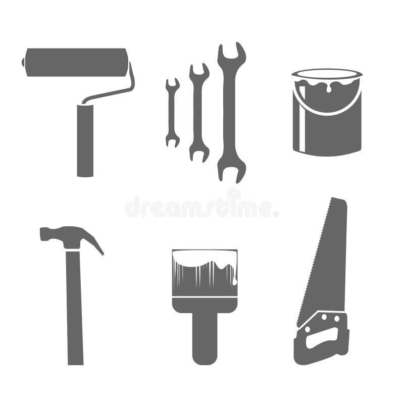 Dom przemodelowywa narzędzie ikony ustawiać ilustracji