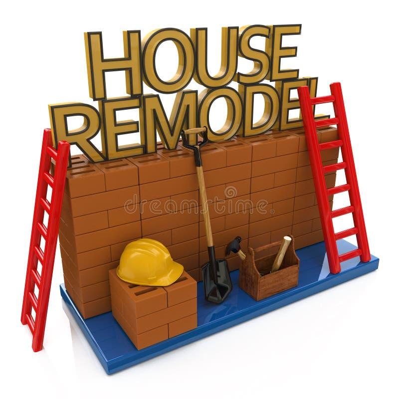 Dom przemodelowywa pojęcie i narzędzia, brickwork workplace ilustracja wektor