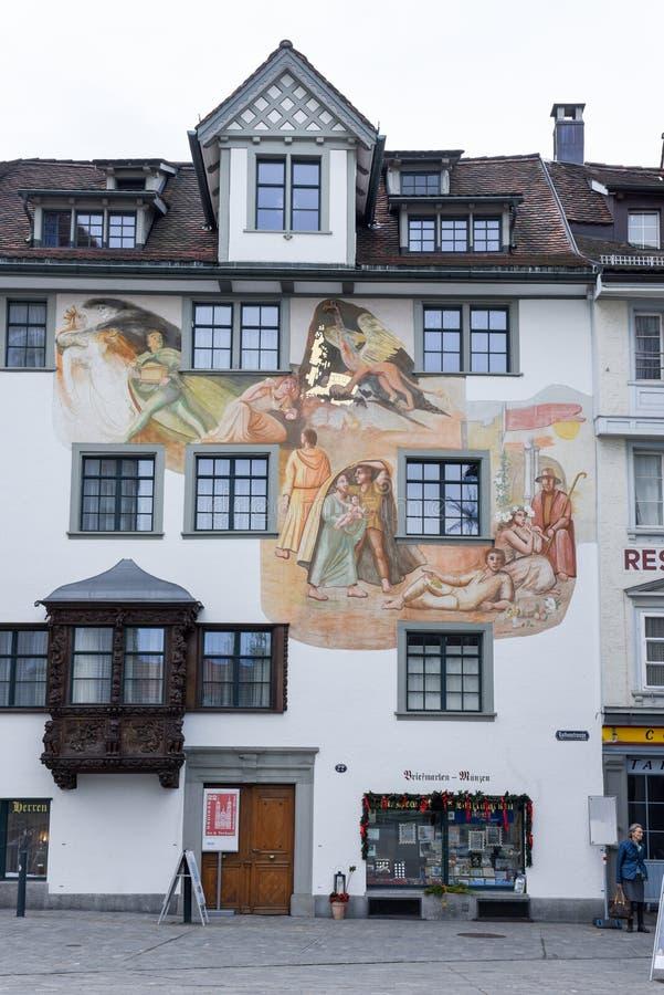 Dom przy starym miasteczkiem St Gallen na Szwajcaria zdjęcie stock