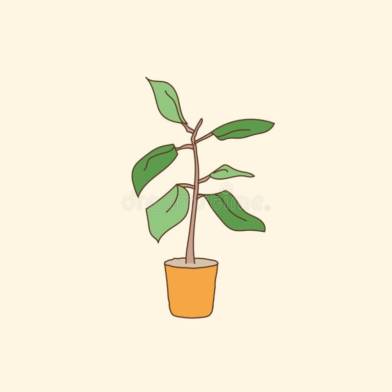 Dom puszkująca roślina remisu ręki papieru watercolours również zwrócić corel ilustracji wektora royalty ilustracja