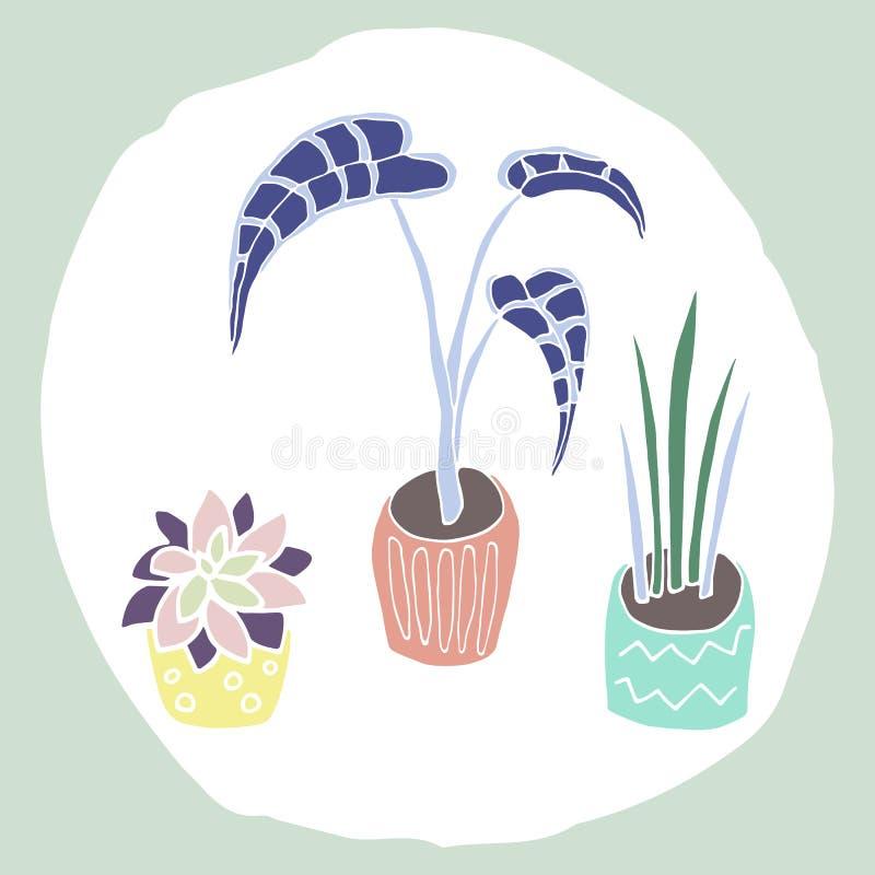 Dom rośliny w garnkach ustawiających ilustracji