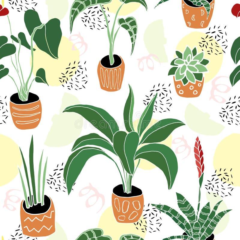 Dom rośliny w garnka bezszwowym wzorze royalty ilustracja
