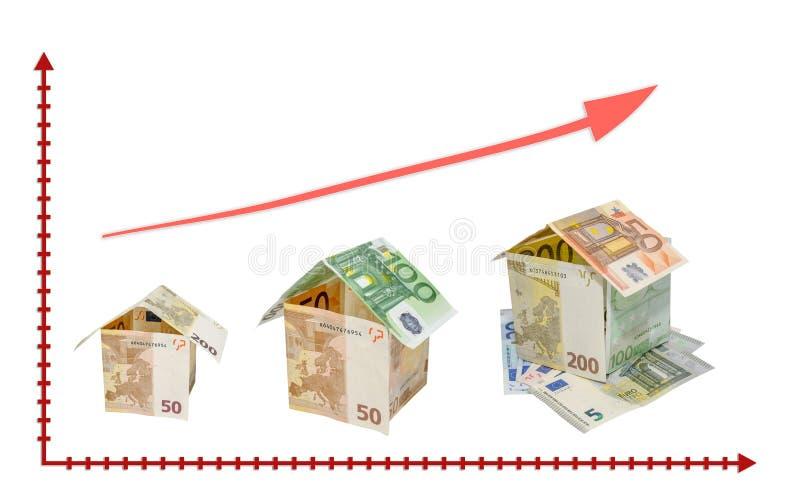 Dom robić od dolarowych rachunków z kluczem odizolowywającym na białym backgrou zdjęcie royalty free