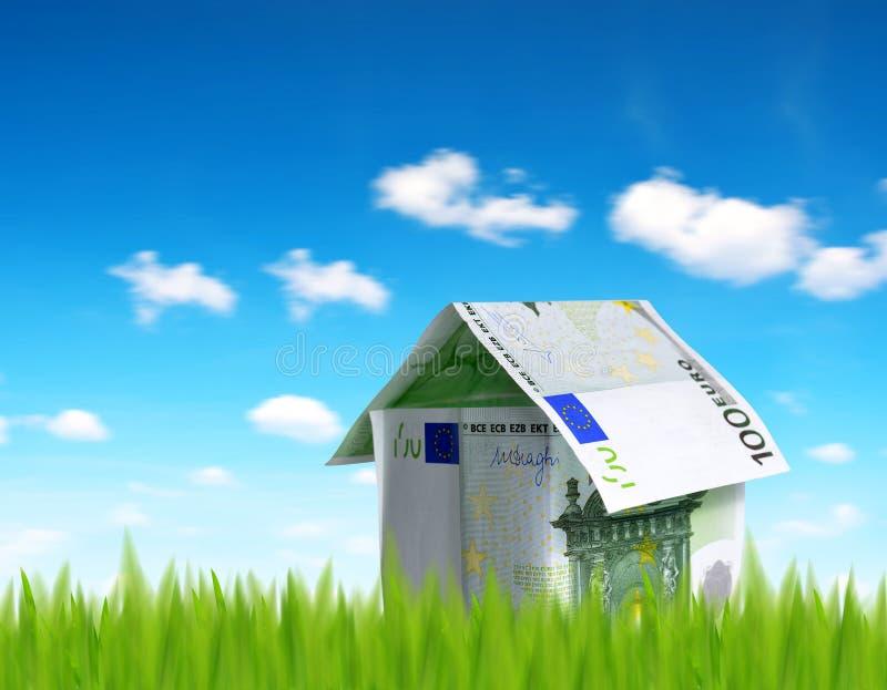 Dom robić od euro pieniądze obrazy stock
