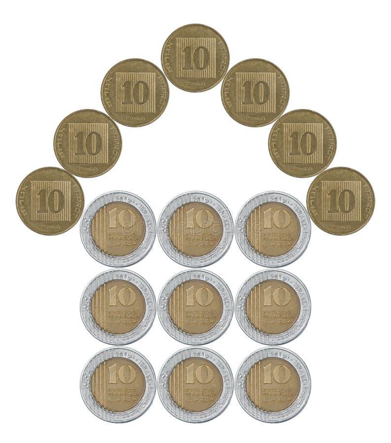 Dom robić od Izraelickich monet zdjęcia stock