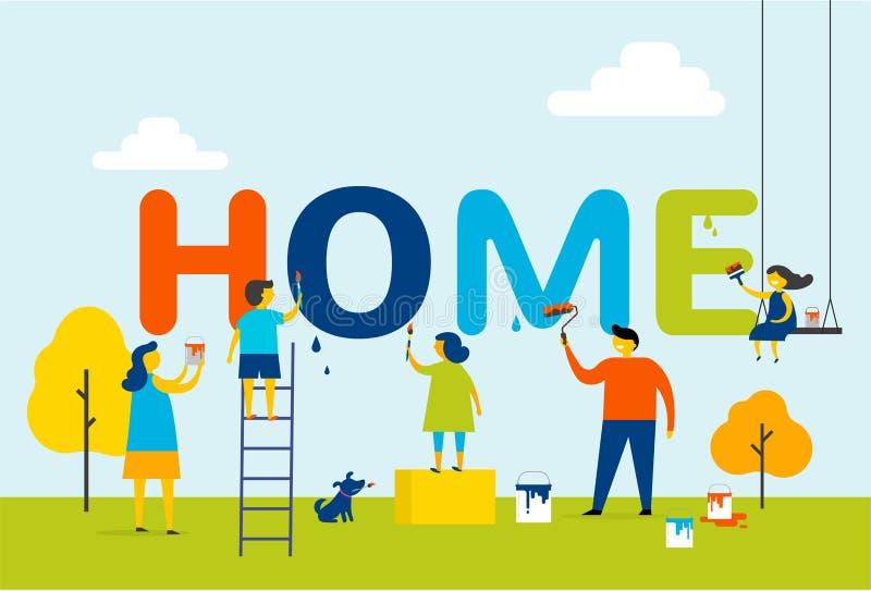 Dom - rodzina maluje listy, pojęcie projekt z dzieciakami, matki i ojca, lato plenerowa scena ilustracja wektor