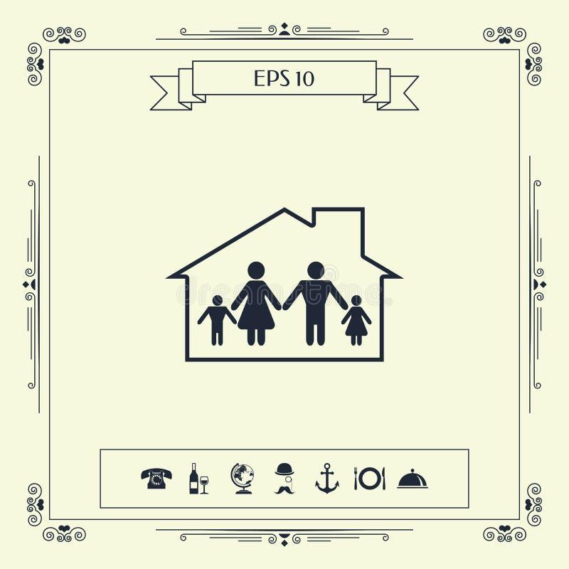 Dom rodzinny ikona ilustracja wektor