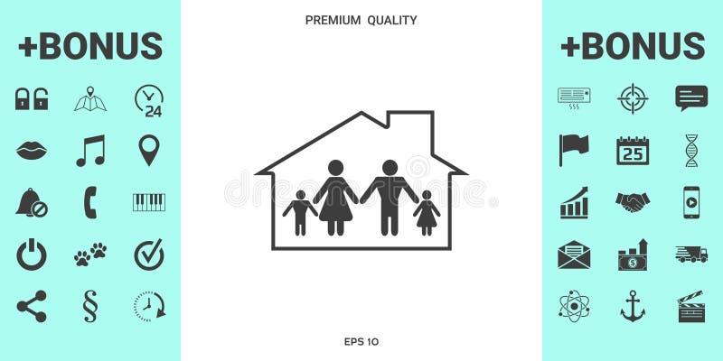 Dom rodzinny ikona royalty ilustracja