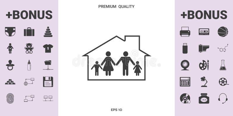 Dom rodzinny ikona ilustracji