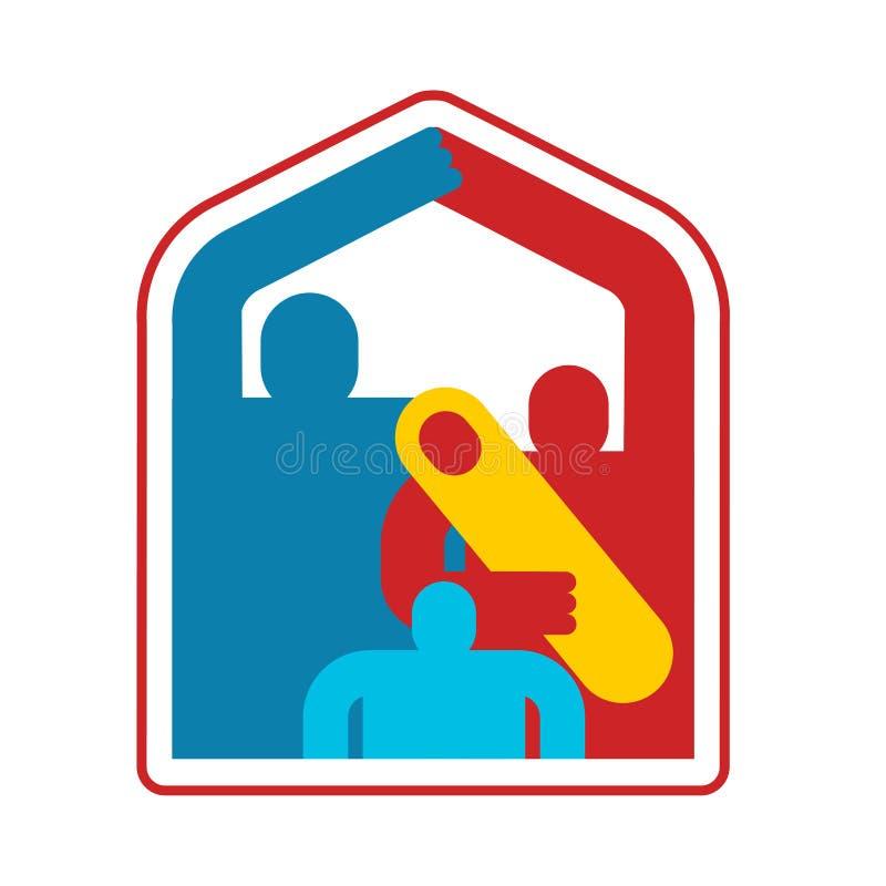 Dom rodzinny ikony symbol gospodarstwo domowe siedziba Tata, mama i dziecko przy domem, podpisujemy royalty ilustracja