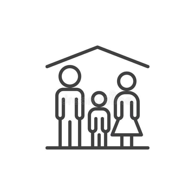 Dom rodzinny kreskowa ikona, konturu wektoru znak, liniowy stylowy piktogram odizolowywający na bielu ilustracja wektor