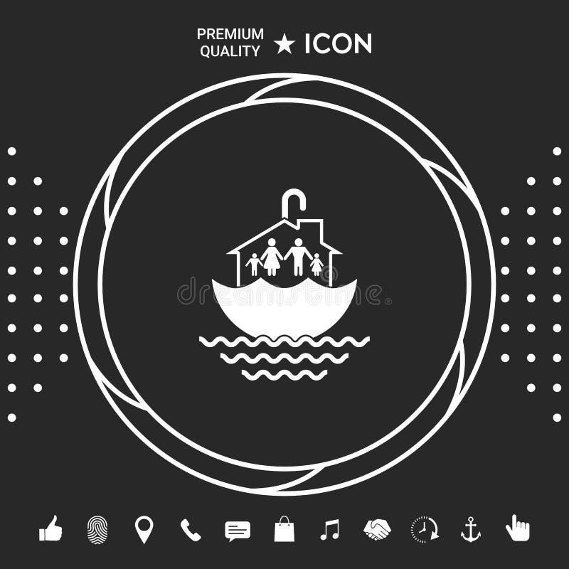 Dom rodzinny ochrony ikona Graficzni elementy dla twój designt royalty ilustracja