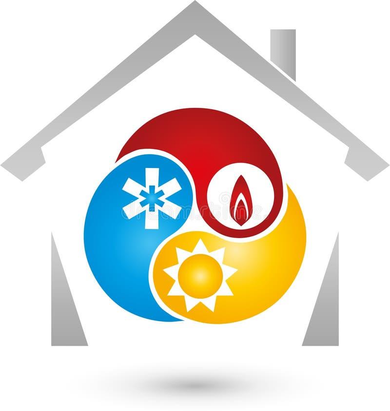 Dom, słońce, śnieg, ogienia znak, installer i klimatu logo, royalty ilustracja