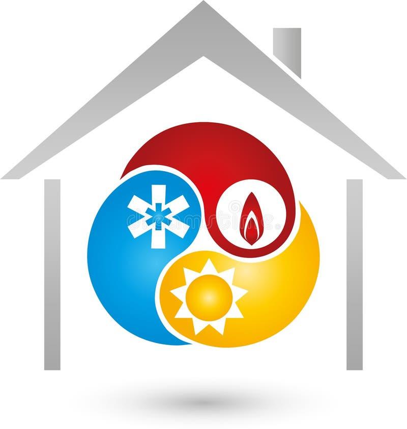 Dom, słońce, śnieg, ogienia znak, installer i klimatu logo, ilustracji