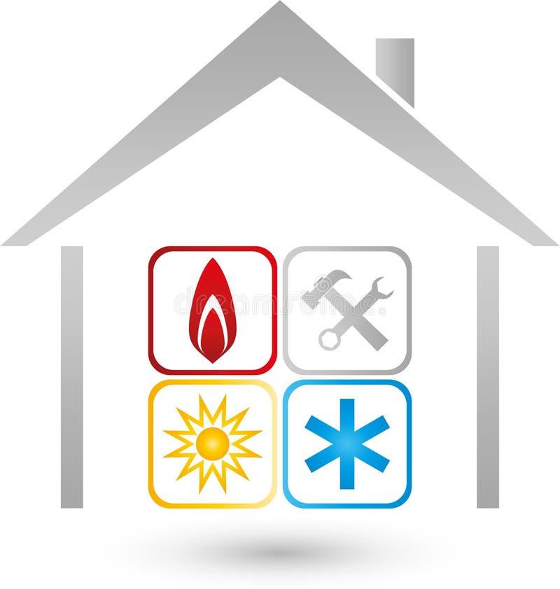 Dom, słońce, śnieg, ogienia znak, installer i klimatu logo, ilustracja wektor