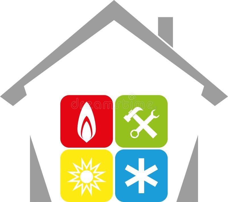 Dom, słońce, śnieg, płomień, installer i klimatu logo, royalty ilustracja